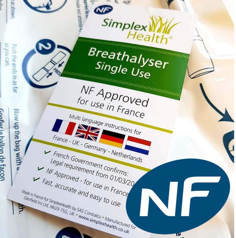 NF Approved Breathalyser Test Kit for France (1 Test)