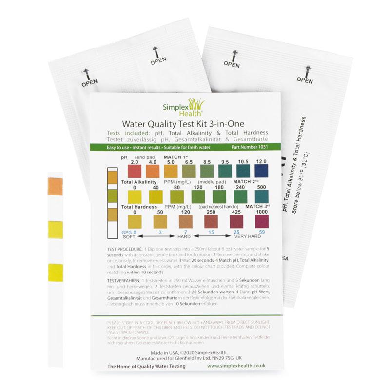 Water Test Kit pH, Alkalinity, Hardness (3-in-1) (5 strips)