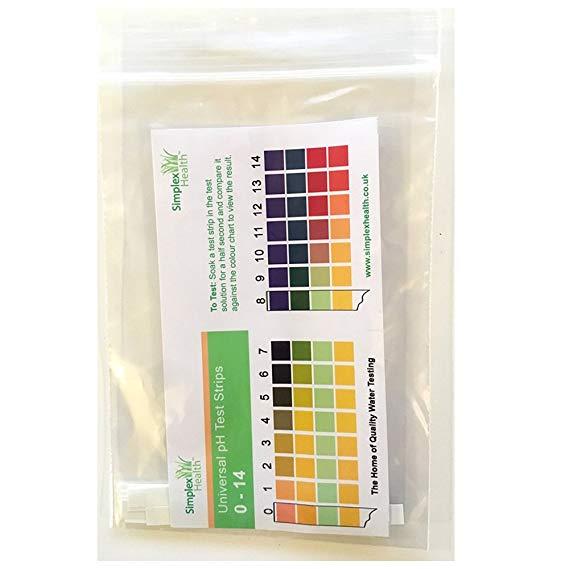 Water Full Range pH Test Strips 0-14  (10 strips)