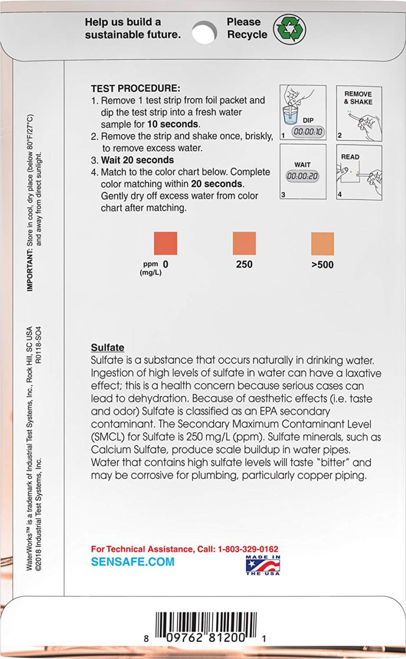 Water Sulfate Check 0-250ppm (30 strips)