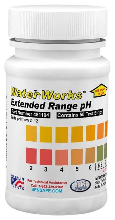 Waterworks Wide Range pH Test Strips 2-12 (50 tests)